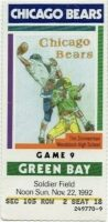 1992 Chicago Bears Ticket Stub vs Packers