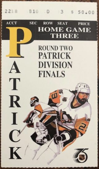 1992 NHL Playoffs Game 6 ticket stub Penguins Rangers