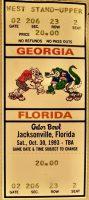 1993 NCAAF Georgia Bulldogs vs Florida Gators ticket stub