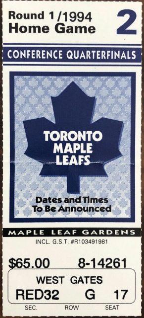 1994 NHL Playoffs Game 2 ticket stub Maple Leafs Blackhawks