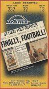 1995 St Louis Rams Inaugural Game ticket stub vs Saints