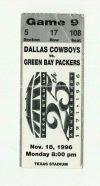1996 Dallas Cowboys ticket stub vs Packers