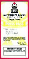 1996 Milwaukee Bucks press pass vs Bulls