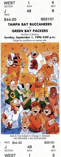 1996 Tampa Bay Buccaneers ticket stub vs Packers