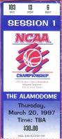 1997 NCAA Tourney ticket stub Minnesota vs Clemson