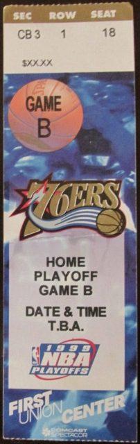 1999 NBA Playoffs Round 1 Game 2 ticket stub 76ers Magic