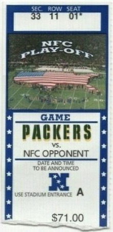 2002 NFC Wild Card Game ticket stub Packers vs 49ers