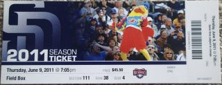 2011 Anthony Rizzo debut ticket stub