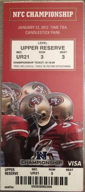 2012 NFC Championship Game ticket stub 49ers Giants