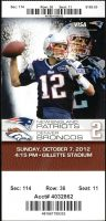 2012 New England Patriots ticket stub vs Broncos