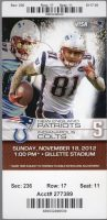 2012 New England Patriots unused ticket vs Colts