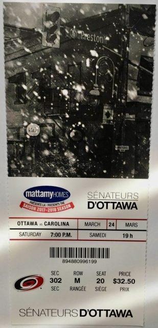 2018 Ottawa Senators ticket vs Hurricanes