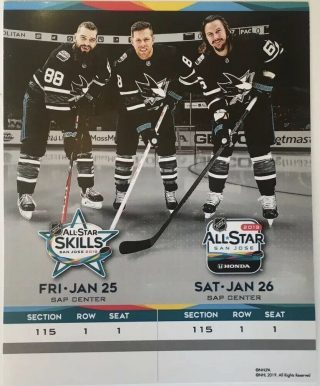 2019 NHL All Star Game Ticket San Jose Sharks
