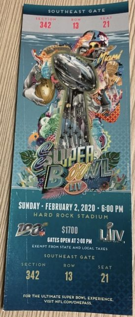 2020 Super Bowl ticket stub navy version Chiefs 49ers