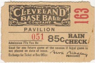 Cleveland Indians League Park ticket stub