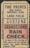1940 San Diego Padres Lane Field ticket stub