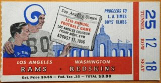 1956 LA Times Charity game ticket stub Rams vs Redskins