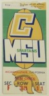 1957 NCAAF Cal Bears ticket stub vs Michigan State