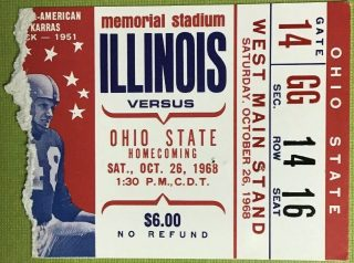 1968 NCAAF Illinois ticket stub vs Ohio State