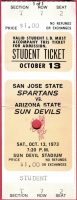 1973 NCAAF Arizona State ticket stub vs San Jose State