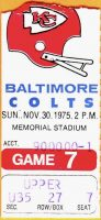 1975 Baltimore Colts ticket stub vs Chiefs