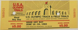 1984 Olympic Track and Field Trials ticket stub