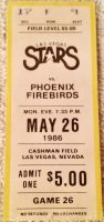 1986 Las Vegas Stars ticket stub vs Phoenix Firebirds