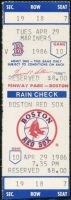1986 Roger Clemens 20 Strikeout Game ticket stub