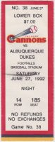 1992 Calgary Cannons ticket stub vs Albuquerque