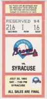 1992 MiLB Richmond Braves ticket stub vs Syracuse