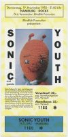 1992 Sonic Youth ticket stub Hamburg