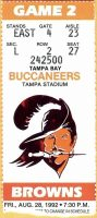 1992 Tampa Bay Buccaneers ticket stub vs Browns