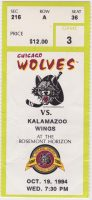 1994 IHL Chicago Wolves ticket stub vs Kalamazoo