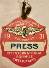 1931 Indianapolis 500 Mile Race Press Badge