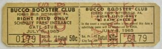 1965 Pittsburgh Pirates Bucco Boosters Club Ticket Stub
