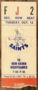1982 St. Catharine's Saints ticket stub vs New Haven