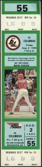 1985 Rochester Red Wings ticket stub with Cal Ripkin pictured