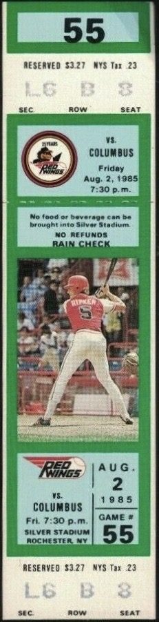 1985 Rochester Red Wings ticket stub with Cal Ripken pictured
