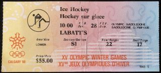 1988 Winter Olympic Hockey Bronze Medal Game ticket stub