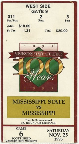 1995 Egg Bowl ticket stub