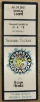 2001 Everett Aquasox ticket stub vs Boise
