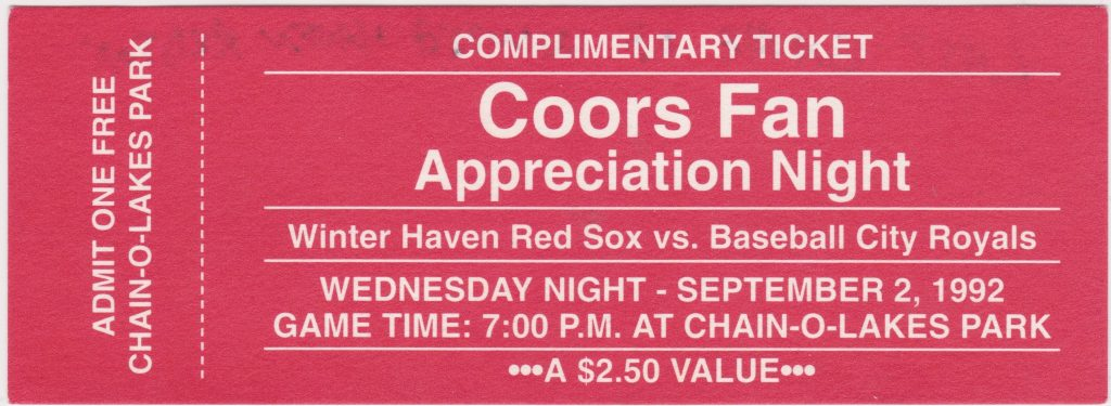 1992 Winter Haven Red Sox unused ticket vs Baseball City Royals