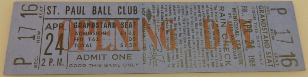 1959 St. Paul Saints Opening Day ticket stub