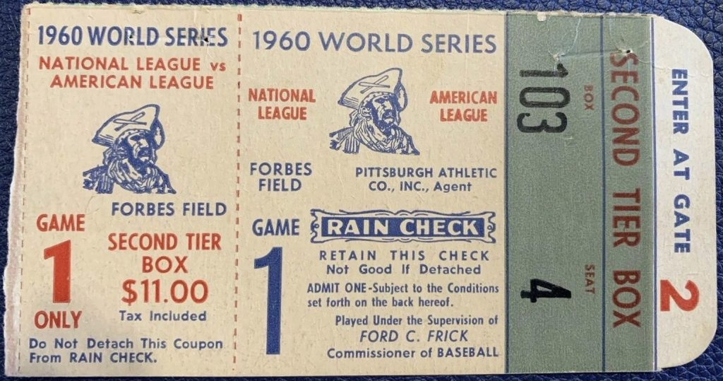 1960 World Series Ticket Game 1 ticket stub Pirates vs Yankees