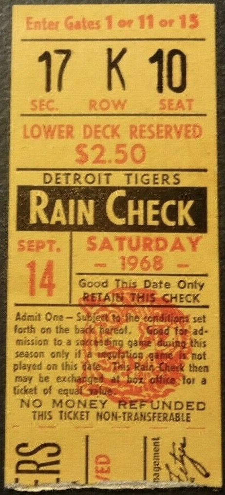 1968 Denny McLain 30th Win ticket stub