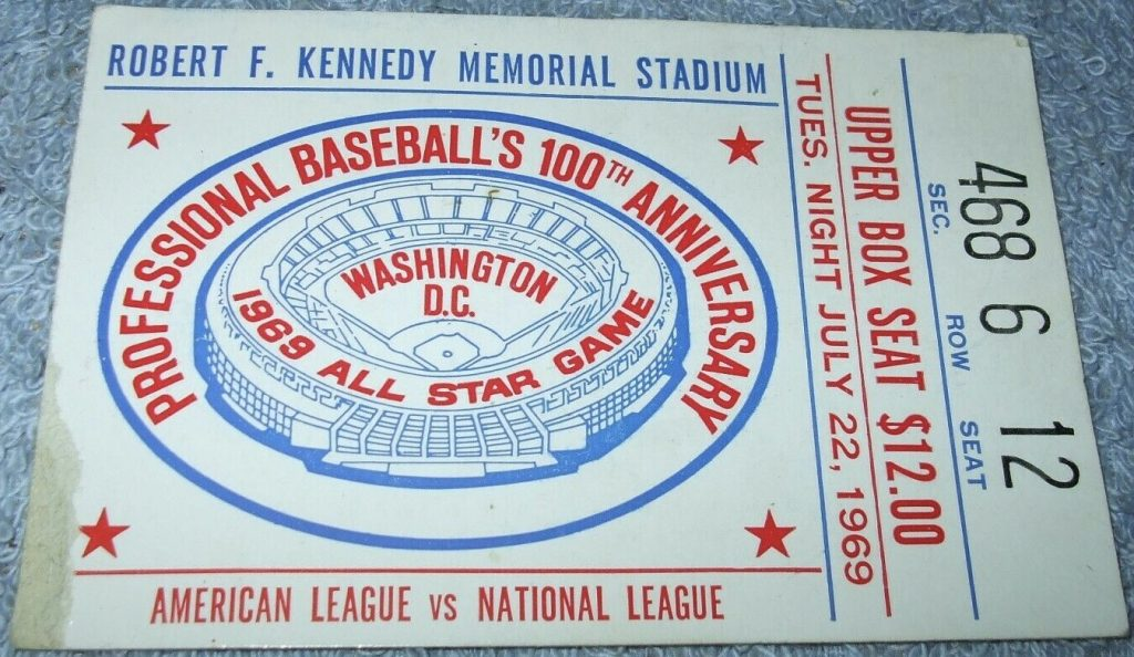 1969 MLB All Star Game ticket stub RFK Stadium