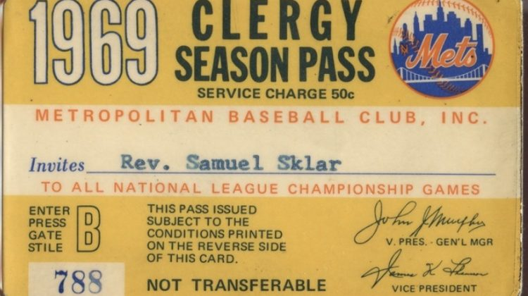 1969 New York Mets Clergy Season Pass