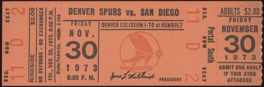 1973 WHL Denver Spurs unused ticket vs San Diego
