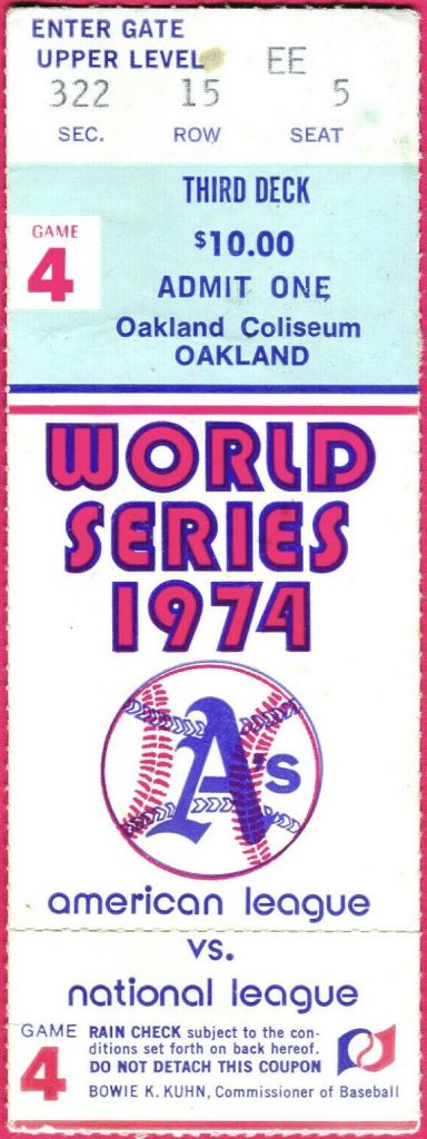 1974 World Series Game 4 ticket stub