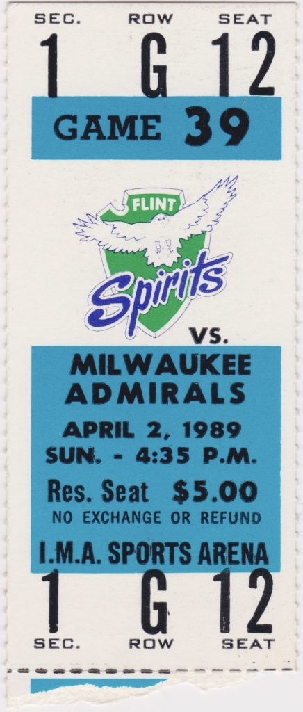 1989 IHL Flint Spirits ticket stub vs Milwaukee